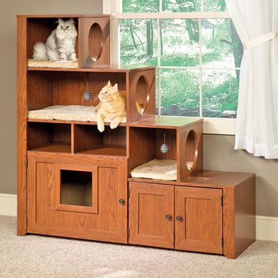 Sauder Bookcase for cats ~ The bookcase climber, bed and litter cabinet from Suader looks like a quality piece of furniture you would find in any living room. This great piece comes with microfiber cushions & two hanging toys, along with additional storage for litter accessories. Plus, the unique stair shape and hiding spots are sure to please any feline. Had sold for $350+ @ http://www.catsplay.com/pausbook.php3