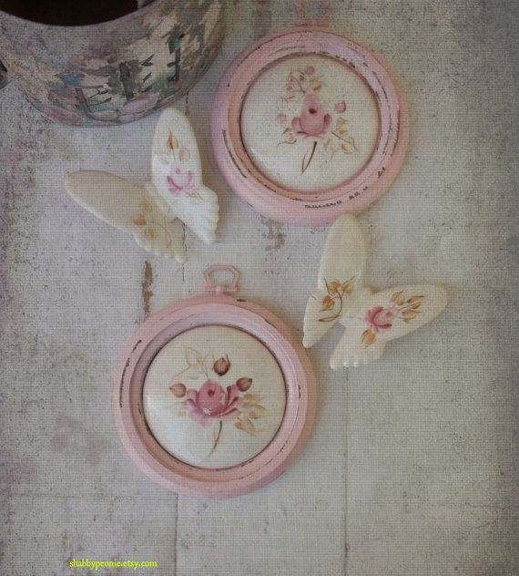 Shabby Chic Cottage Pink Wall Decor. Painted pink by ShabbyPeonie