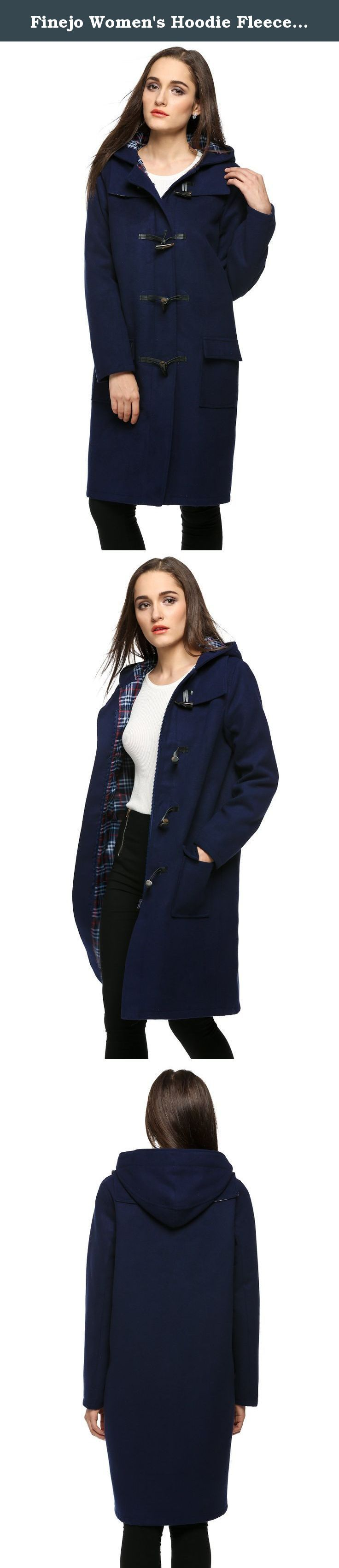 Finejo Women's Hoodie Fleece Jacket Duffle Style Toggle Wool Coat Pea Coat, Navy Blue, Medium. Features nice and thickly insulated for winter days.