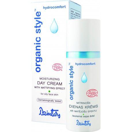 Dzintars Organic style hydrocomfort Moisturizing day cream with mattifying effect for oily face skin, biocosmetics from Latvia, Ecocert certificate