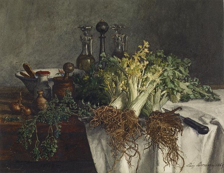 File:Léon Bonvin - Still Life on Kitchen Table with Celery, Parsley, Bowl, and Cruets - Walters 371504.jpg