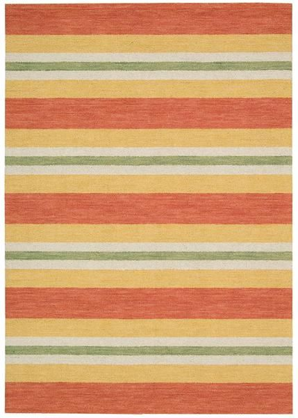 Designed by Barclay Butera and is a handsome signature to any space! I Shop Rug & Home I #barclaybutera #stripes #orange #green