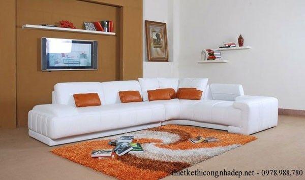 Ghế sofa nỉ màu trắng phòng khách cao cấp