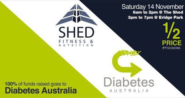 Come & join us on Saturday 14th November for National Diabetes Day!  1/2 price PT sessions & body scans offered from 6am until 2pm - no need to be a member! We want EVERYONE to be a part of such an important fundraising & awareness day! 100% of $$ raised goes straight to Diabetes Australia.  From 3pm meet us down @ Eridge Park for some FAMILY FUN! Jumping castle touch football BBQ & drinks are all on us!  Get on board give us a call or pop into the gym! @diabetes_australia_ #shedfitness…