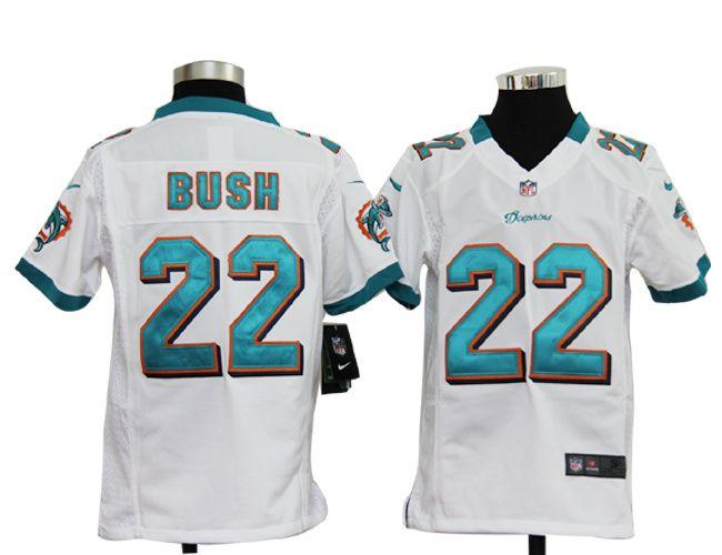 nike miami dolphins 22 reggie bush youth white nfl jersey 22.99