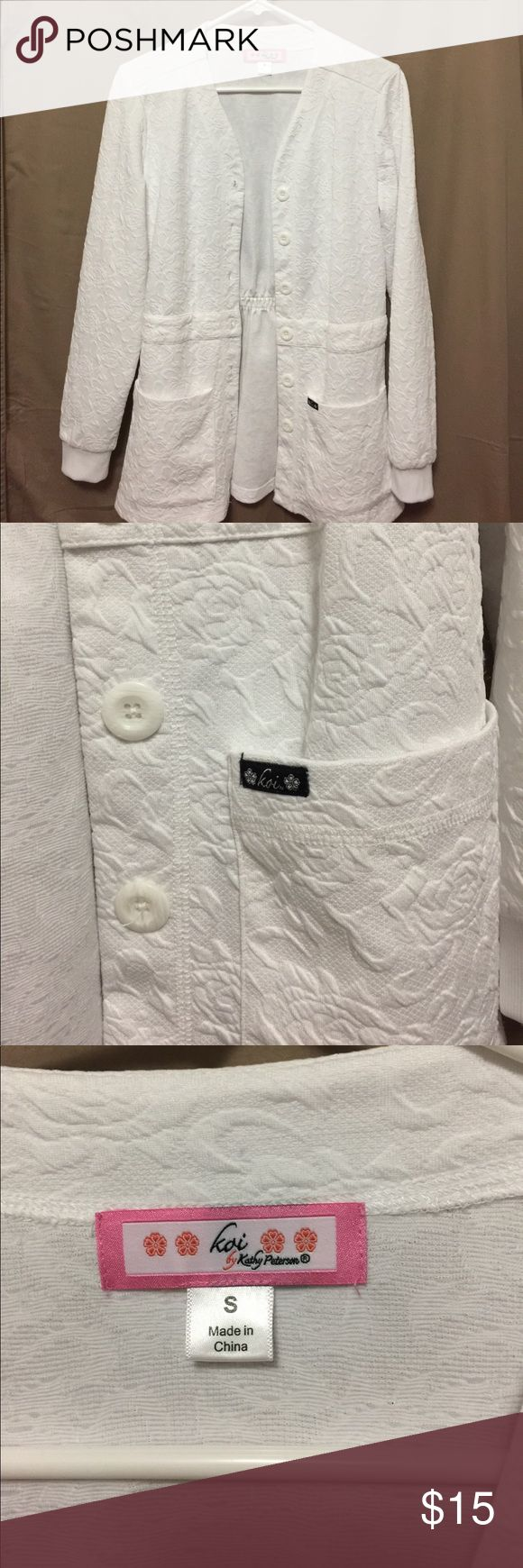 """Koi white scrub jacket lab coat warm up S Koi, runs big. I wear M in Koi but small in their sweaters and jackets fine.  This is an awesome accessory wherever you need to wear scrubs!   I'm a 34C 35"""" waist and this fits me nicely. Koi Jackets & Coats"""