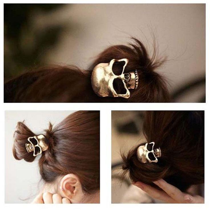 Amazon.com : Women's Retro Punk Fashion Metallic 3D Skull HairBand Rope Tie Wrap Ponytail Holder Bronze : Beauty