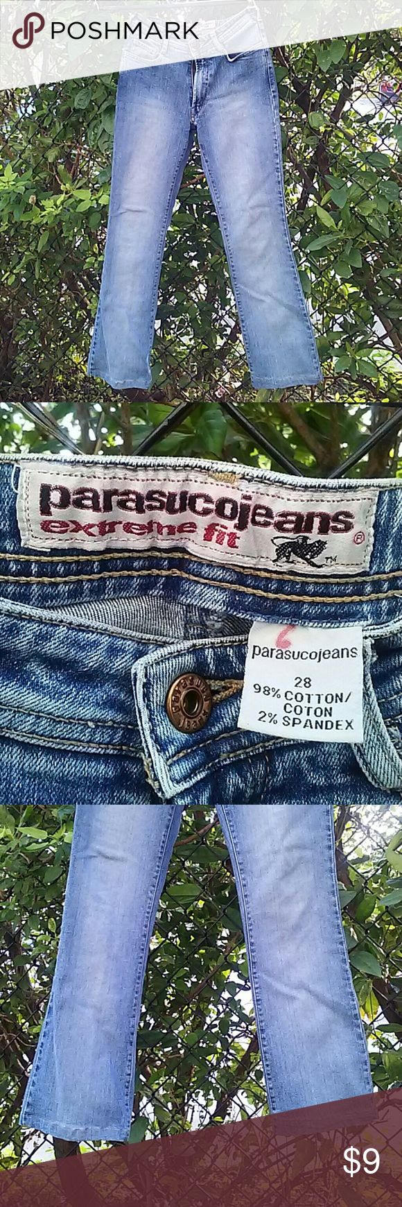 "Parasuco jeans, 28 28 inseam, 25"" waist. Good condition, one red spot on leg (see pic), red marker on inside tag. Parasuco Jeans"