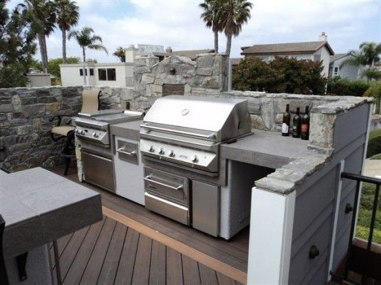29 Amazing Outdoor Barbeque Areas : 29 Amazing Outdoor Barbeque Areas With Grey Stone Grill And Wooden Floor Design