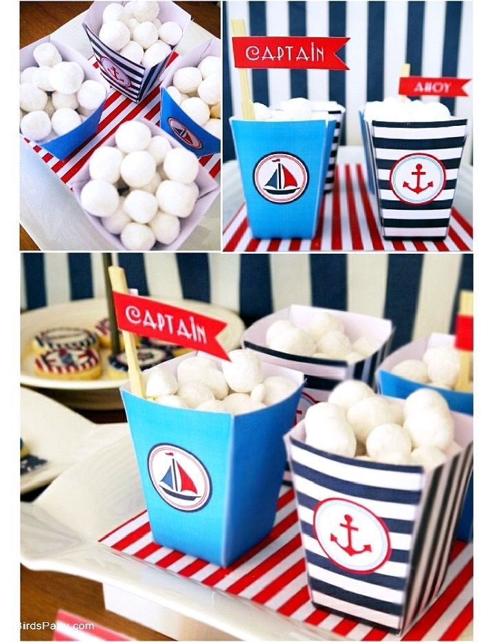 Nautical maritime sailboat birthday party ideas with lots of DIY decorations, party printables, sweet party food and favors!   #nauticalparty #nauticalbirthday #sailboatparty #boatpartyideas #nauticalbirthdayparty