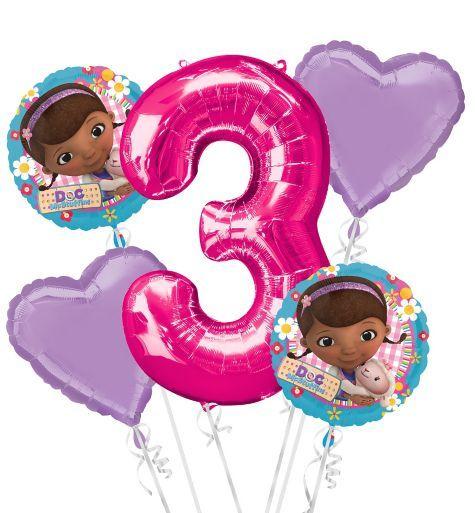 Doc McStuffins 3rd Birthday Balloon Bouquet 5pc - Party City