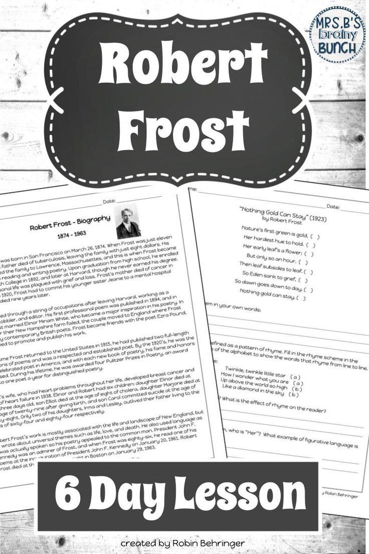 Robert Frost Poems And Biography Poetry Middle School Robert Frost Poems Literature Lesson Plans