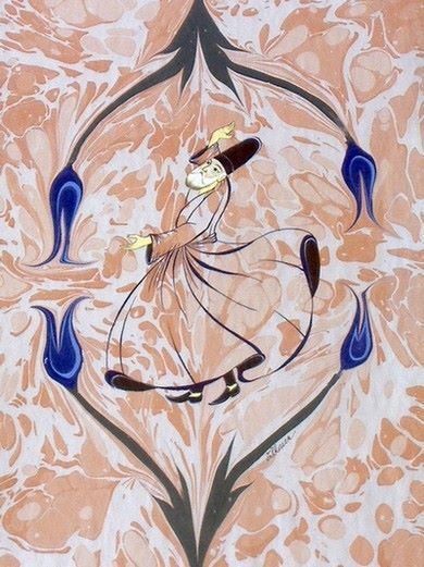 Ebru art with whirling dervishes