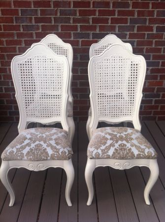 White Cane Back Chairs And Seat Cushions