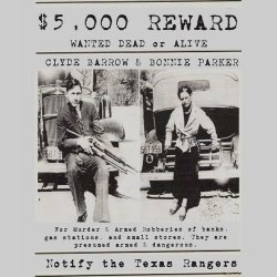 Bonnie and Clyde Wanted Poster Shirts feature a design taken from a real Bonnie and Clyde wanted poster circa 1931-1934.