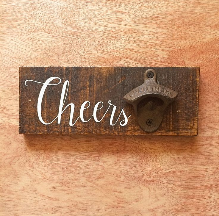 Repurposed Wood Wall Hanging Bottle Opener Gift by BrewLamps on Etsy