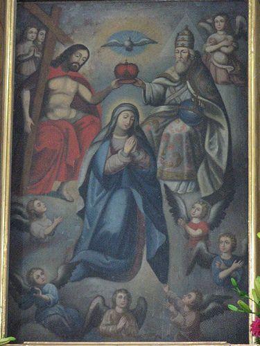 La Coronación de la Virgen, Retablo del Altar Mayor, Templo de la Santisimita, Barrrio de Sta. María Xixitla, Sn. Pedro Cholula, Pue.   por Tach Jrez. Hra.