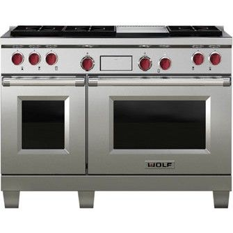 "Wolf DF486G-LP 48"" Dual Fuel Range with 6 Sealed Burners & Griddle"
