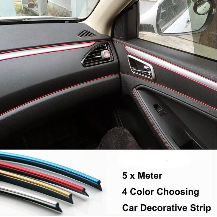 [Visit to Buy] 5 Meter Car Side Rein Side moulding decoration strip PVC decorative tape Auto dash panel trim strip automotive center stack #Advertisement
