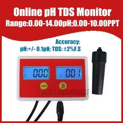 Бесплатная доставка аквариум онлайн PH / TDS монитор рн-метр TDS метр тестер 0-14ph 0.00 - 10.00PPT