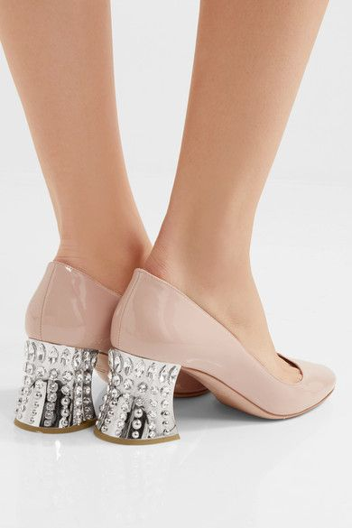 Heel measures approximately 65mm/ 2.5 inches Beige patent-leather Slip on Made in Italy