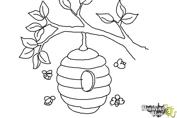 How To Draw A Beehive Step 9 With Images Bee Drawing