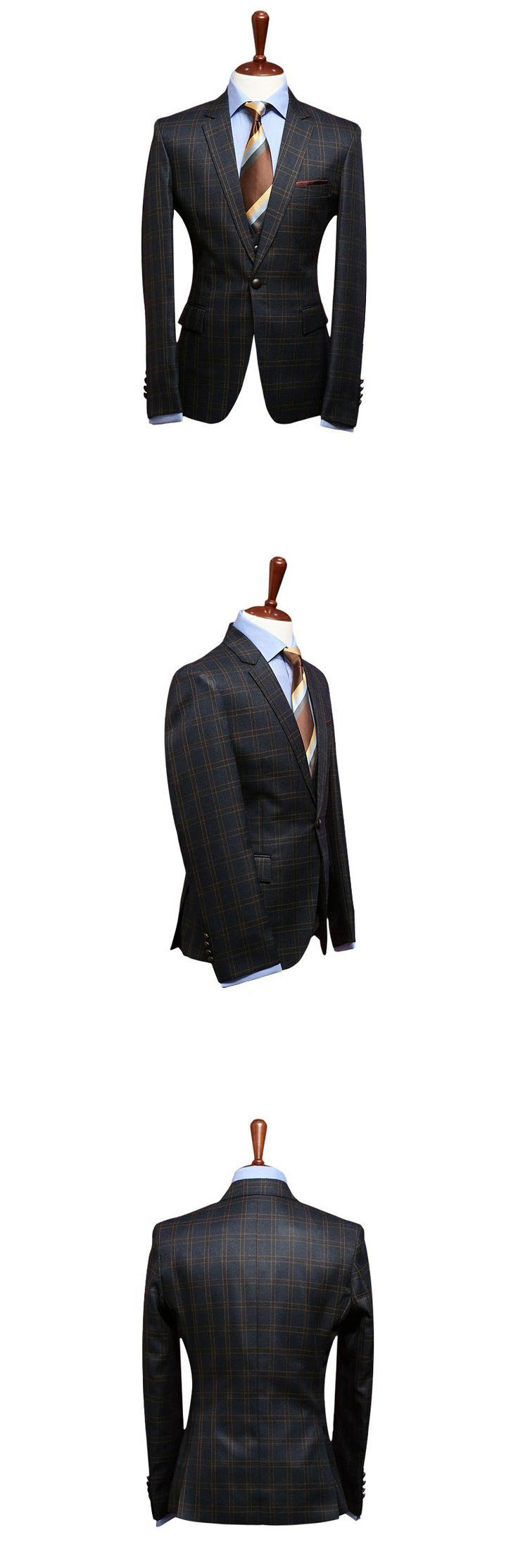 NAVY plaid mens suits uk lounge suit party weddings slim fit designer prom suits | eBay