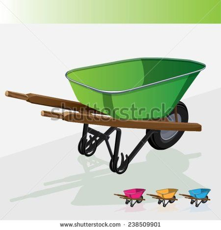 Vector illustration industrial wheelbarrow . Tool for manual movement of construction and household items.