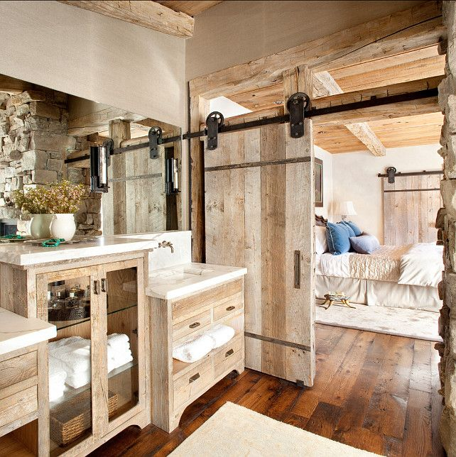 This bathroom is rustic and chic at the same time. I love the mix of materials found here. Door and its hardware were created by Integrity ...
