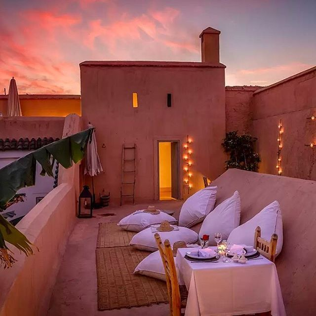 Celebrate Eid with a Morrocan home big enough for the whole family. And lots of food. #EidMubarak  #LiveThere  To see more of this traditional riad click the link in our bio.