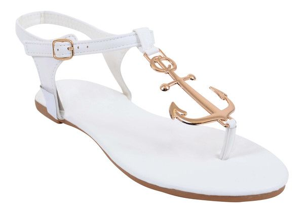 Nautical Anchor Flip-flop Sandal Flat Thongs White Mint or Nude
