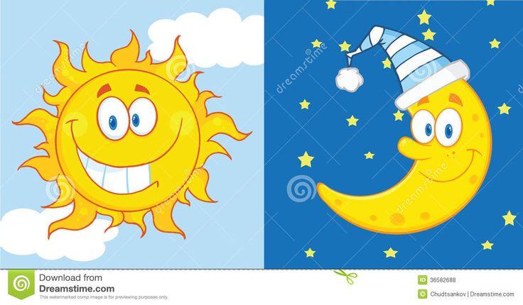 Personajes de dibujos animados sun y la luna