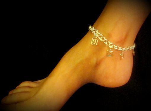 Anklet  Dangling Greek Key by byBrendaElaine on Etsy