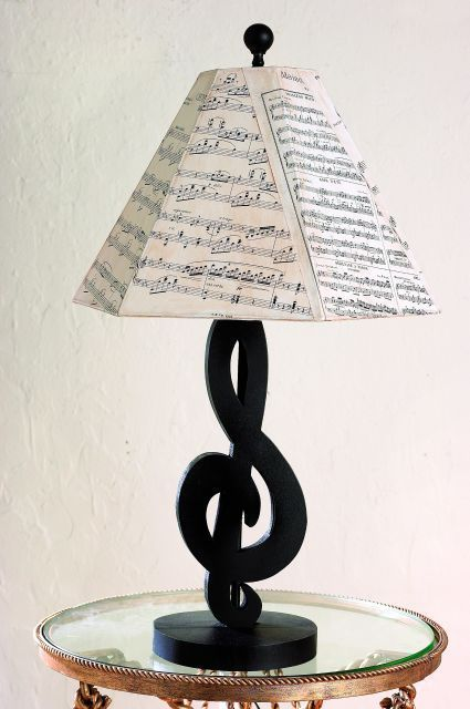 Black Treble Clef Table Lamp with Sheet Music Shade- I like