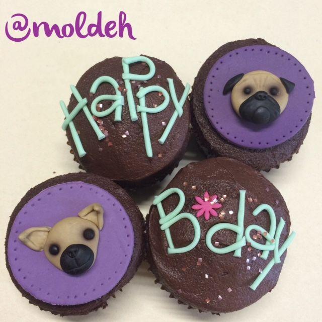 Cupcakes de Cumpleaños con diseño de perrito Chihuahua y Pug // Chihuahua and Pug dog birthday Cupcakes