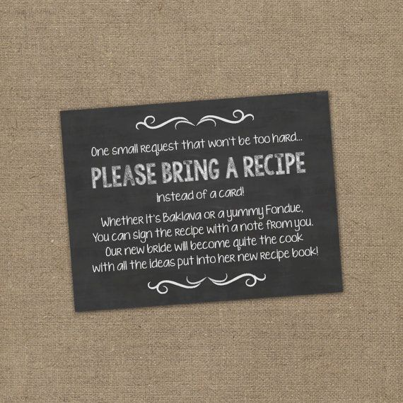 70e9aa386801 Please Bring a Recipe Instead of a Card! Insert for Bridal Shower  Invitations - Cookbook Gift Idea with Rustic Chalkboard Burlap Theme DIY in  2019