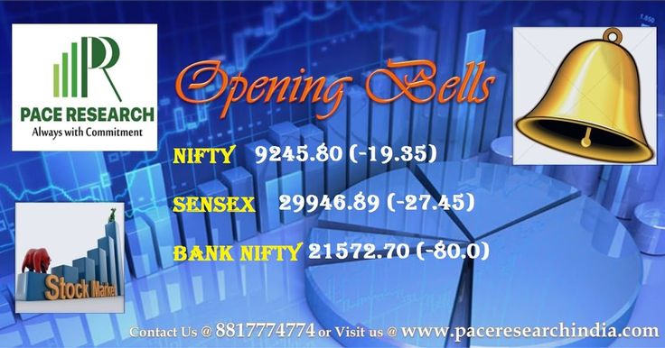 The 30-share BSE Sensex was down 117.91 points at 29,856.33 and the 50-share NSE Nifty fell 36.60 points to 9,228.55.  The Indian rupee declined in early trade. It has opened lower by 18 paise at 65.05 per dollar versus 64.87 Wednesday. For More Info : www.paceresearchindia.com and call : 8817774774