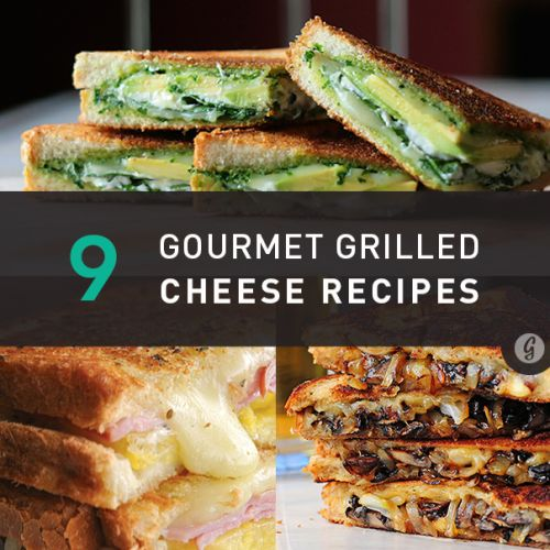 healthfitnesshumour:1. Grilled Cheese with Gouda, Roasted Mushrooms, and Onions2. Mediterranean Grilled Cheese 3. Fried Green Tomato Grilled Cheese 4. Green Goddess Grilled Cheese 5. Balsamic Blueberry Grilled Cheese 6. Lasagna Grilled Cheese 7. Hawaiian Grilled Cheese 8. Grilled Cheese Rolls 9. Bacon Guacamole Grilled Cheese Sandwich (Source: Greatist)