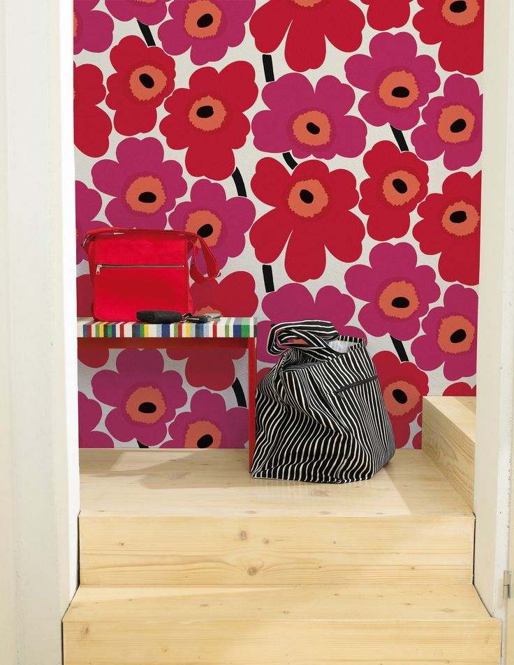 Marimekko Unikko Wallpaper in Red and Pink