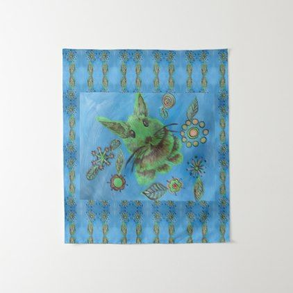 green rabbit on blue painting tapestry - girly gifts special unique gift idea custom