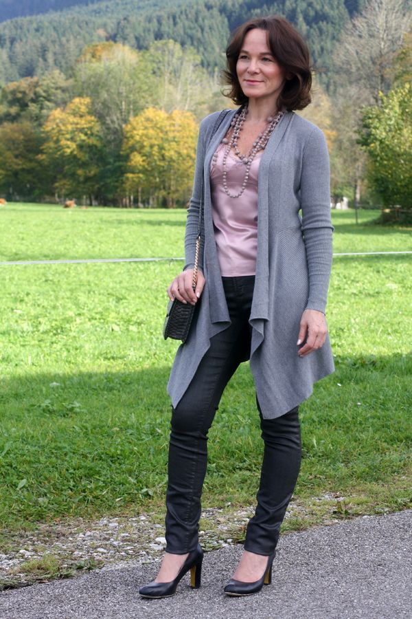 STYLE MIX: COATED JEANS AND LINGERIE TOP