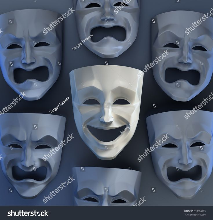 There Is Still Joy Among The Sadness. Comedian and tragedy theater masks on reflective glossy background. 3D rendered graphics.