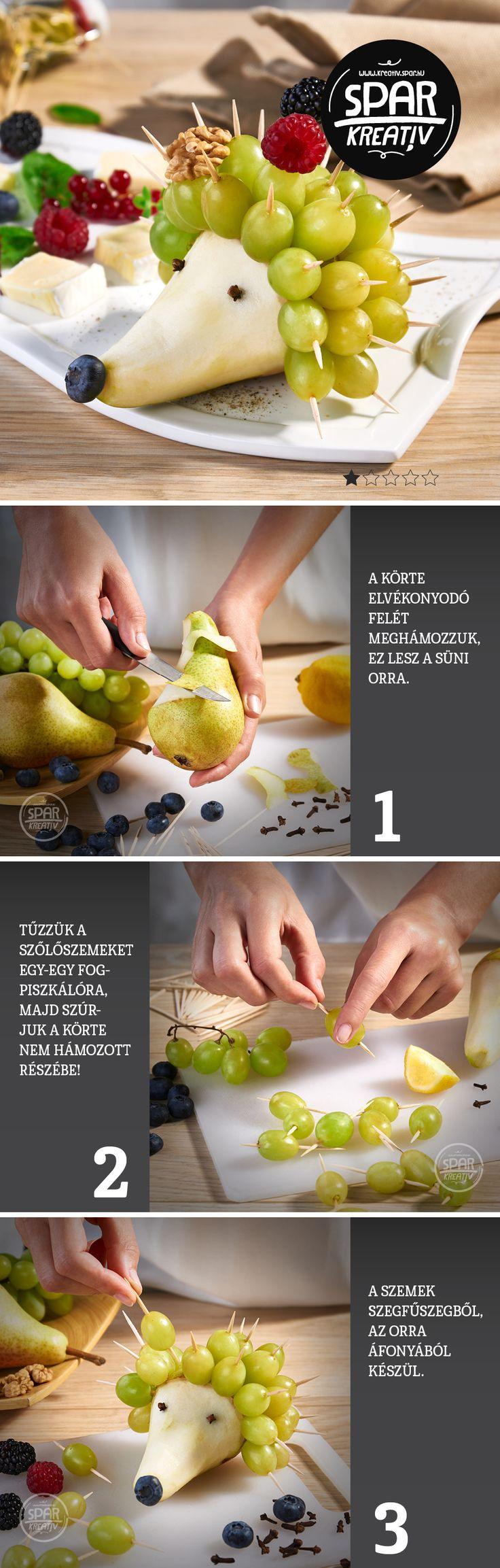 Sünicsemege:  Készítsünk süni formájú gyümölcskompozíciót! Mi kell hozzá? Körte, szőlő, áfonya, valamint szegfűszeg és egy csomag fogpiszkáló. Körtéből érdemes kicsit keményebbet választani, hogy a gyümölcshús jól megtartsa a fogpiszkálókat. Az élményt a kínálótálra helyezett sajtokkal és egyéb gyümölcsökkel fokozhatjuk.