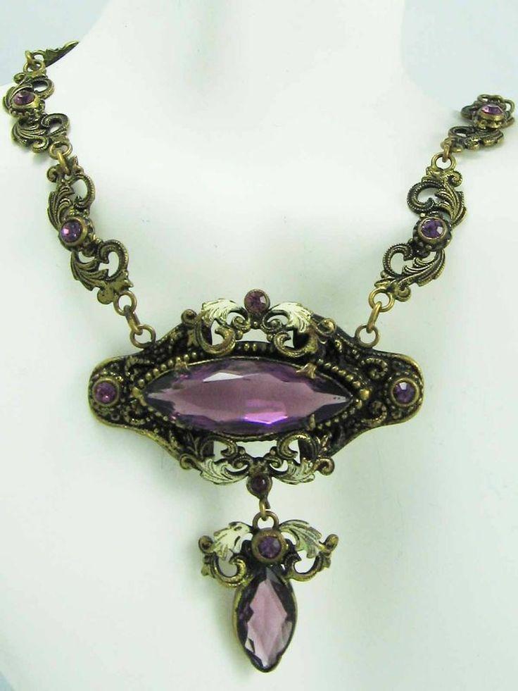 GENUINE Antique Amethyst Enamel Filigree Czechoslovakia Art Deco Necklace~ORNATE