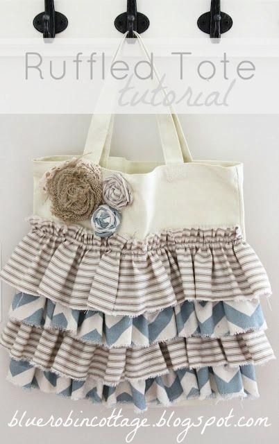 DIY Ruffle : DIY Ruffled Tote Tutorial by Blue Robin Cottage   : DIY Bag DIY Crafts