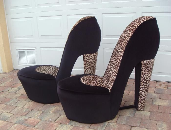 high heel chairs for sale buy 2 leopard high heel shoe chairs at furniture trader put your. Black Bedroom Furniture Sets. Home Design Ideas
