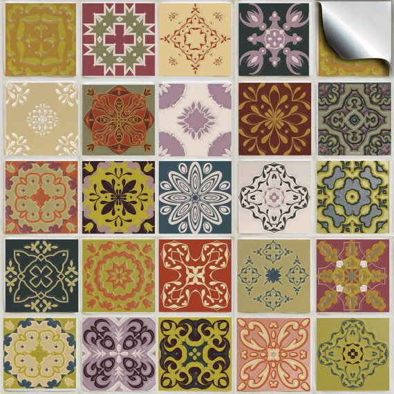 Pack of various traditional mosaic tile stickers TP 51