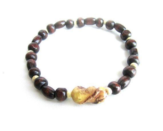 Mens wooden bracelet elastic men bracelet wood by Bravemenjewelry