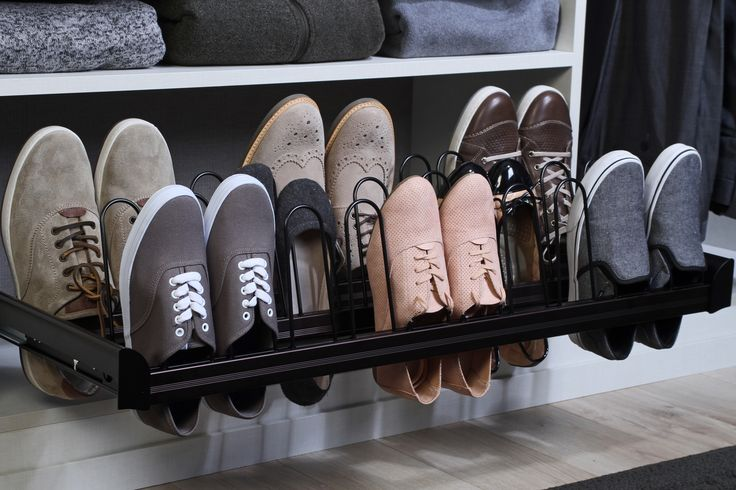 Pull out shoe racks that allow you to have a clear view of all your shoes.  Learn more: https://www.closetfactory.com/custom-closets/