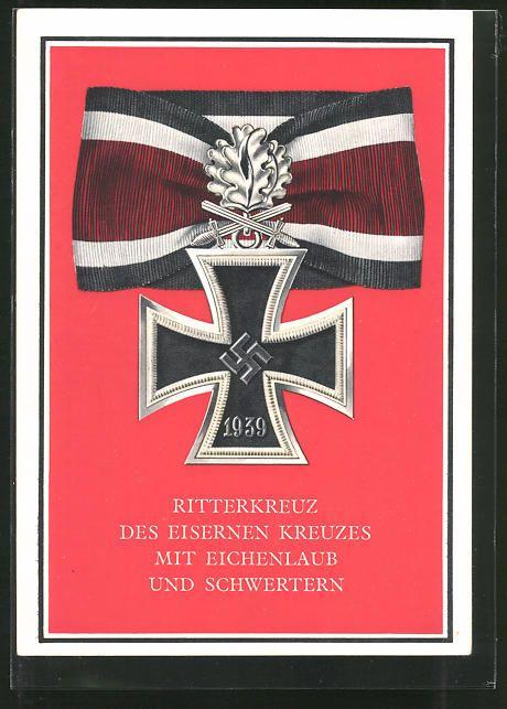 old postcard: AK Kriegsorden d. Großdeutschen Reiches, Ritterkreuz des Eisernen Kreuzes mit Eichenlaub und Schwertern